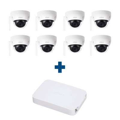 Комплект IP 8 купольных Wi-Fi камер Dahua IPC-HDBW1120EP-W