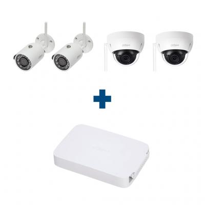 Комплект IP 2 купольные + 2 уличные Wi-Fi камеры Dahua IPC-HDBW1120EP-W / IPC-HFW1120SP-W