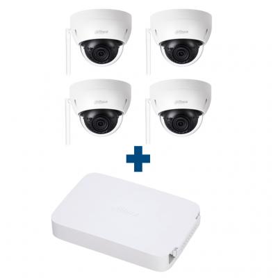Комплект IP 4 купольные Wi-Fi камеры Dahua IPC-HDBW1120EP-W